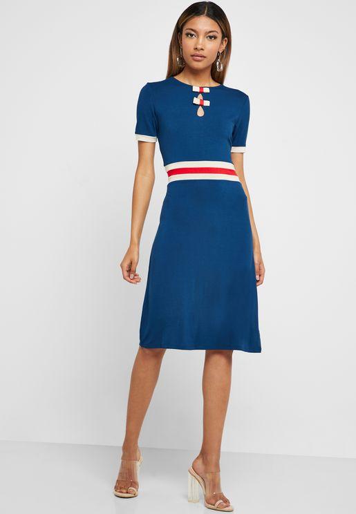 Striped Waist Short Sleeve Dress