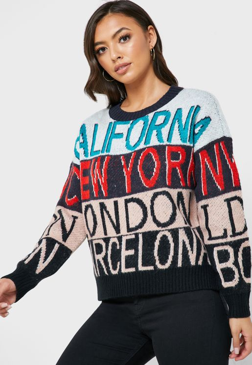 Colorblock Slogan Sweater
