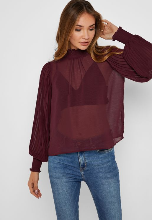 Sheer Pleated Top