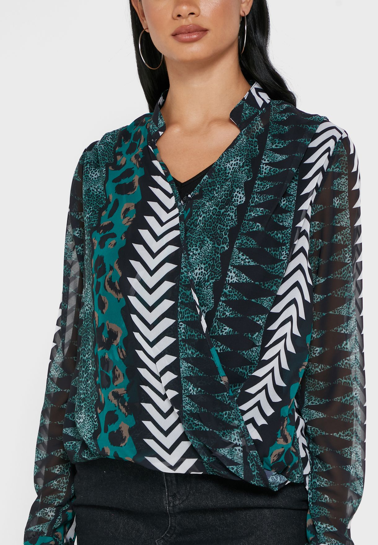 Mixed Print Wrap Front Top