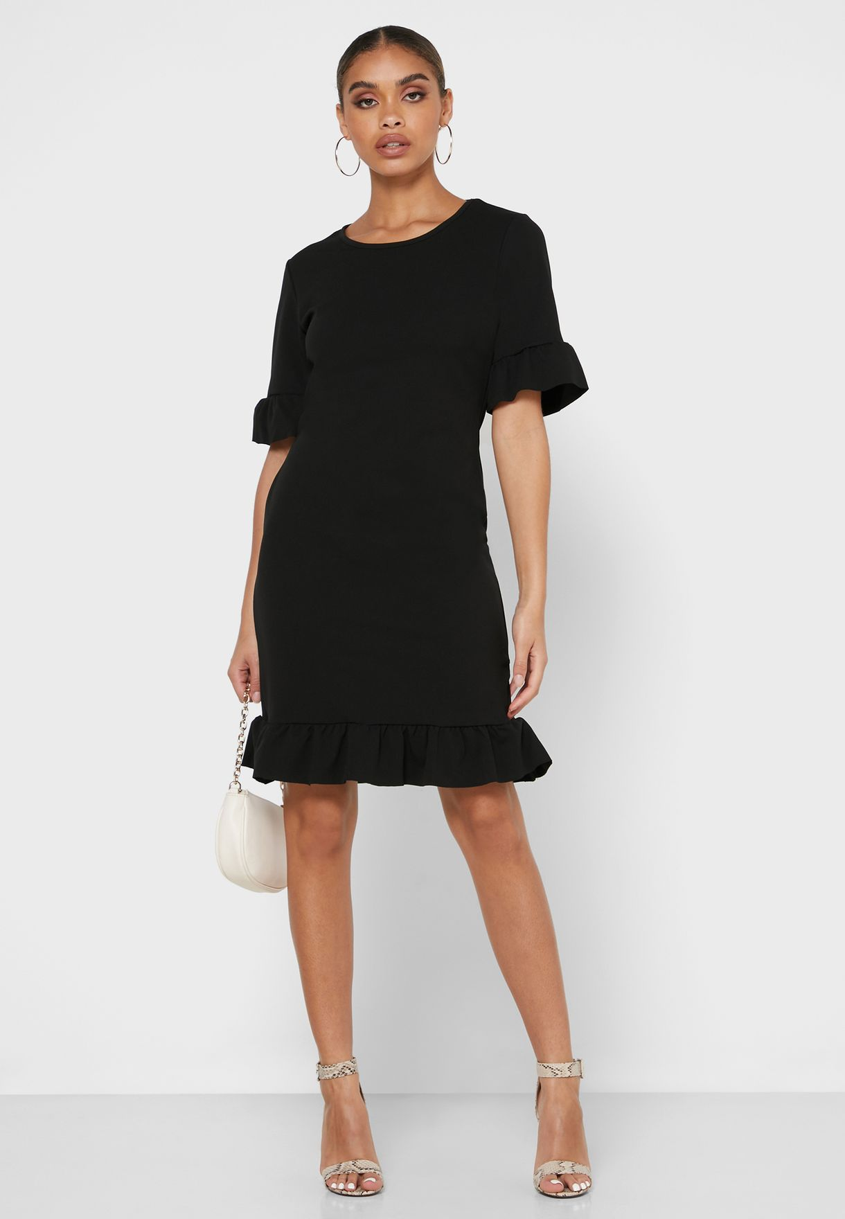 Frill Sleeve Shift Dress