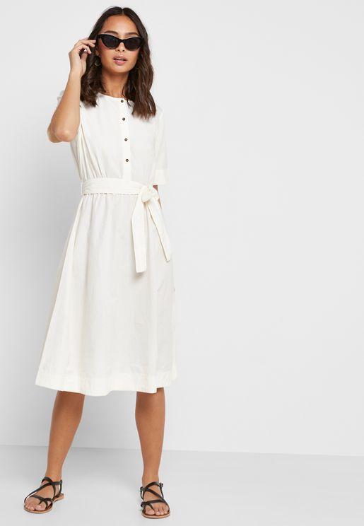 649d484de8831f Button Down Belted Dress