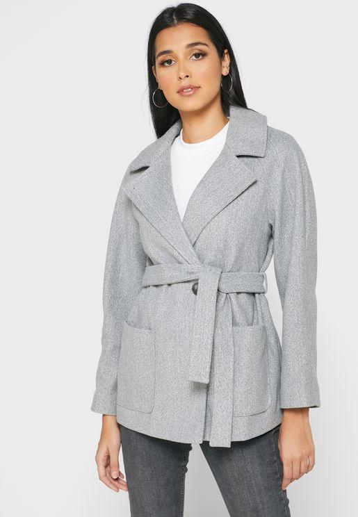 Tie Waist Wrap Coat