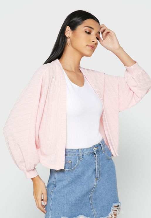 Textured Volume Sleeve Cardigan