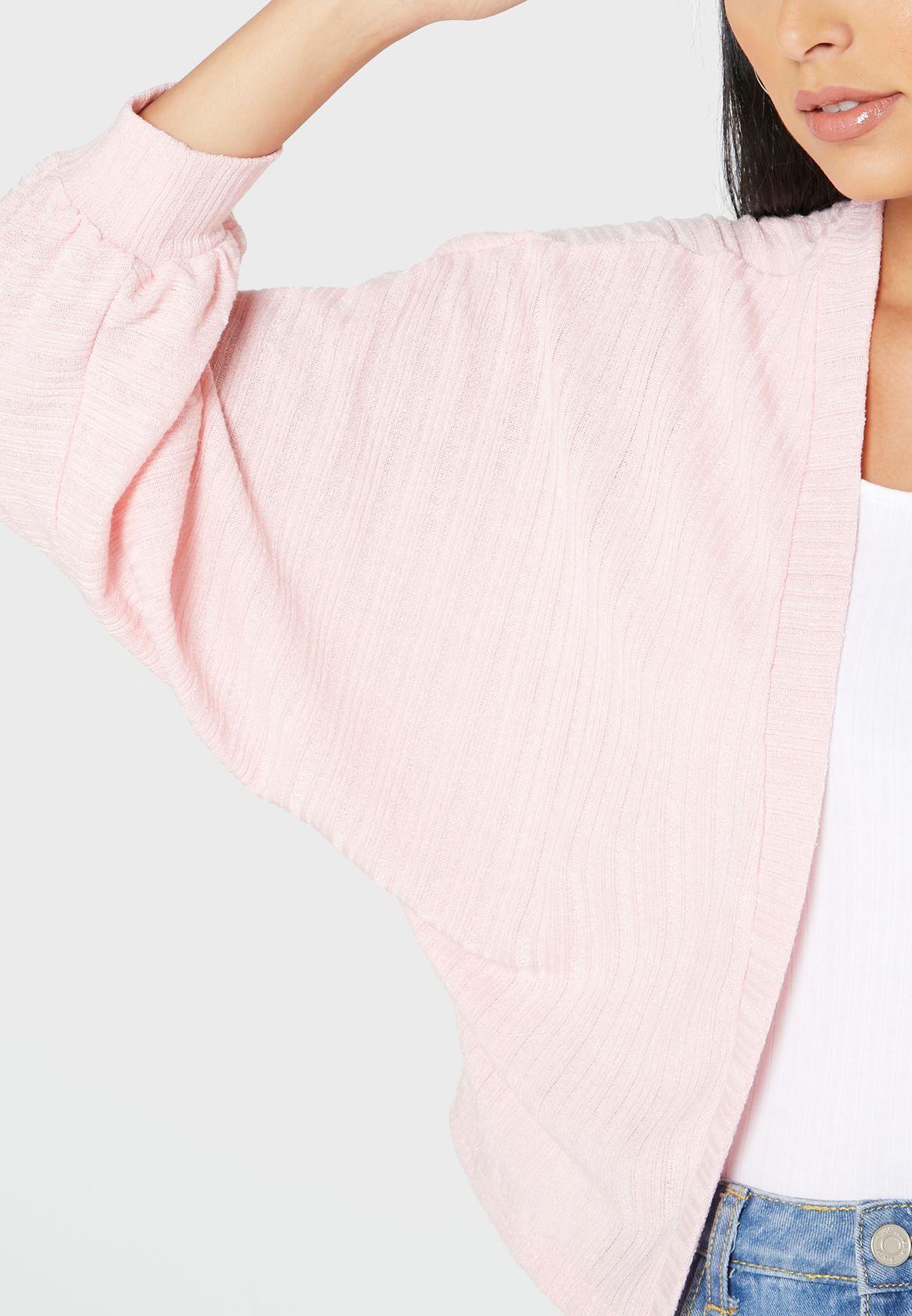 Textured Volume Sleeve Cardigan