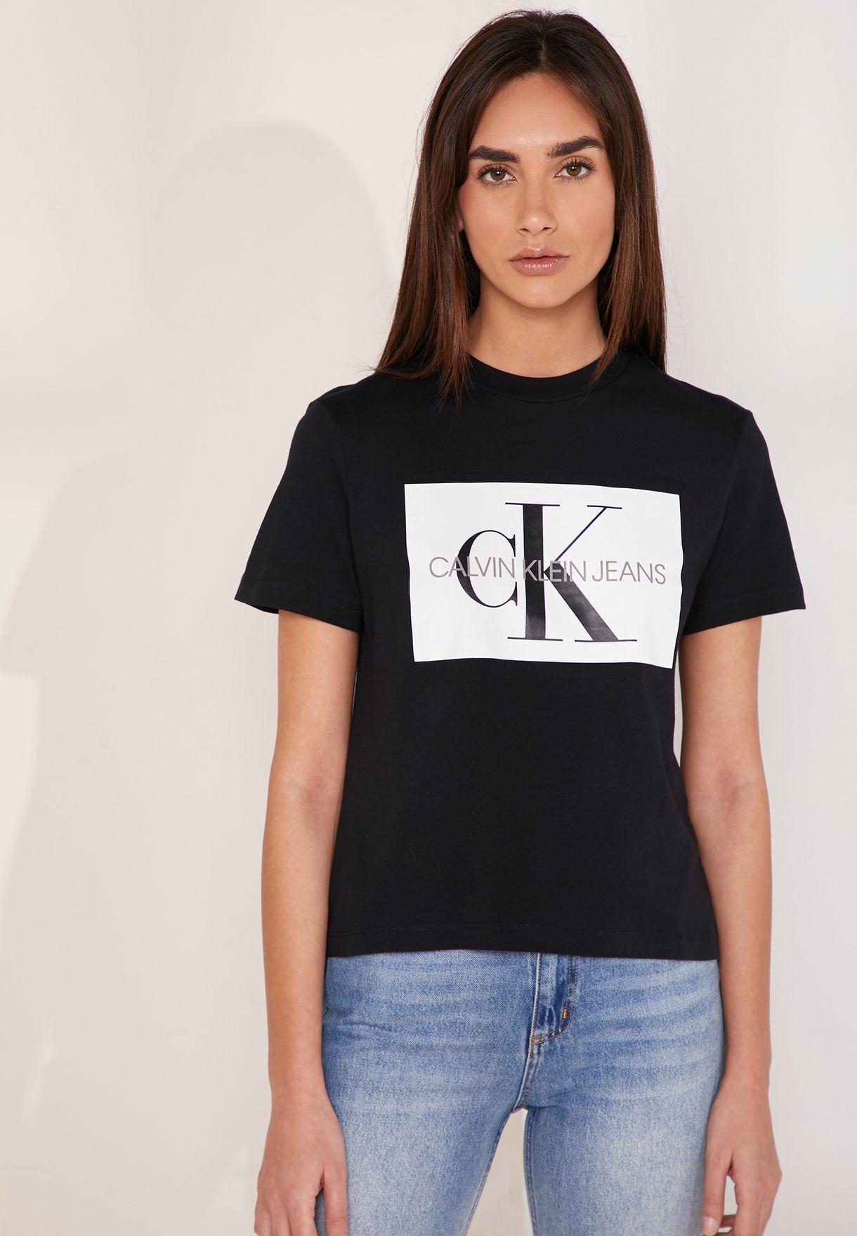 8b0f03447a1 Shop Calvin Klein Jeans black Iconic Monogram Box Logo T-Shirt ...