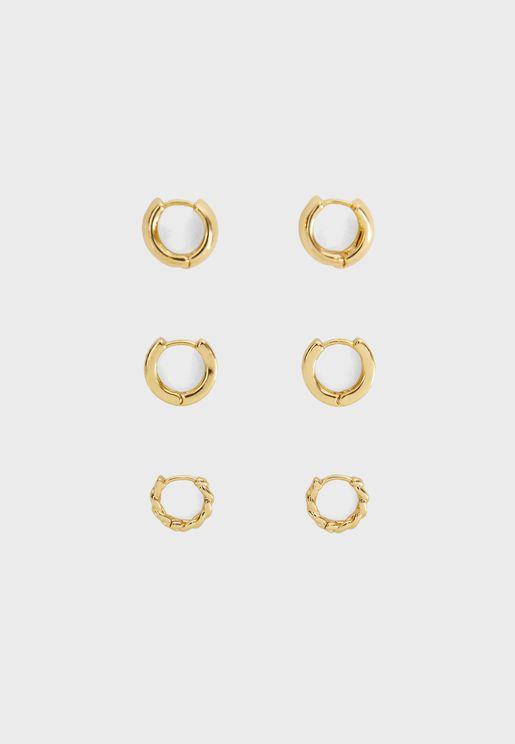 3 ازواج اقراط دبوسية دائرية