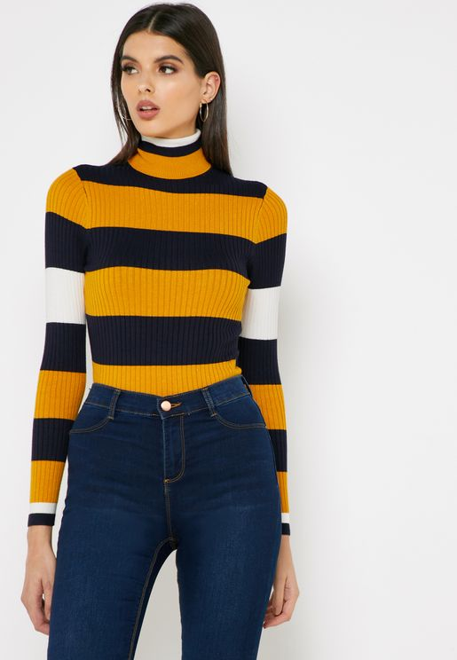 Roll Neck Striped Sweater