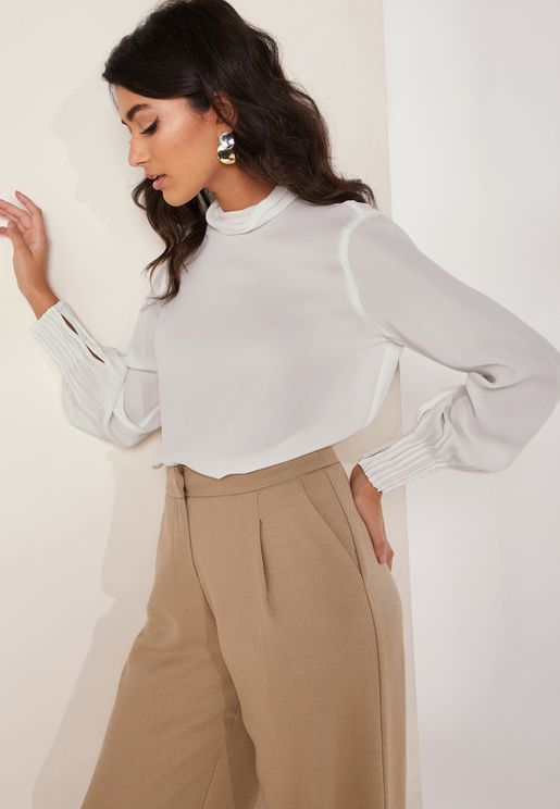 Adina Pleated Cuff Top