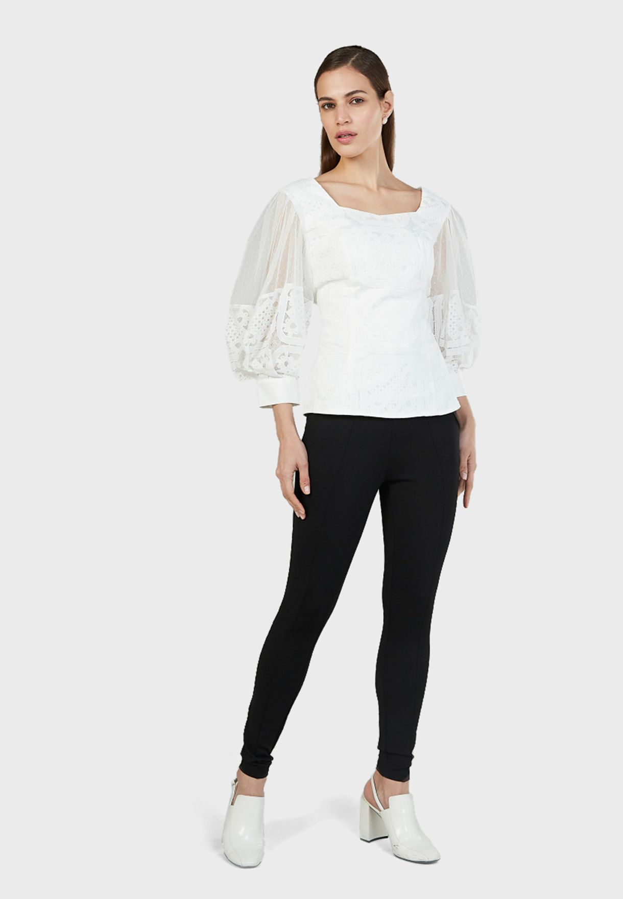 Square Neck Mesh Sleeve Top