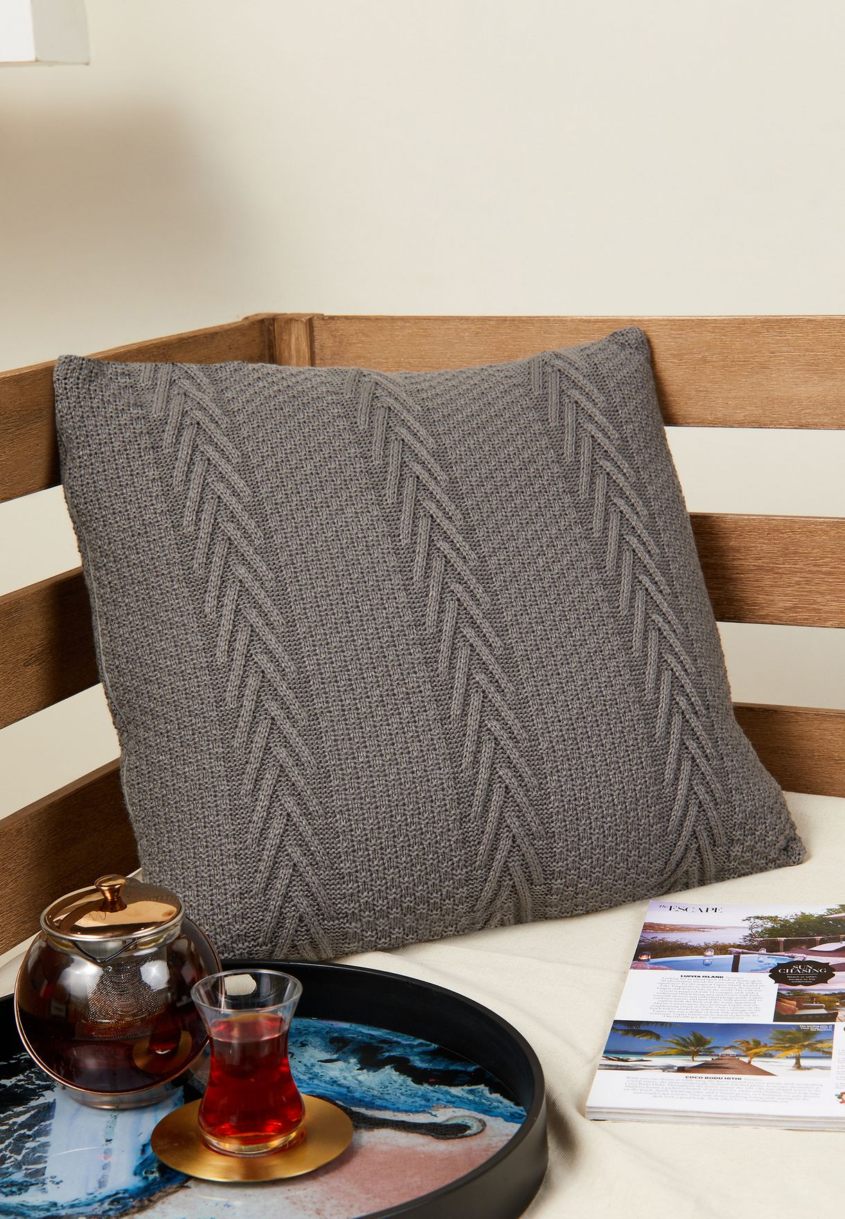 Grey Knitted Cushion With Insert 45cm x 45cm