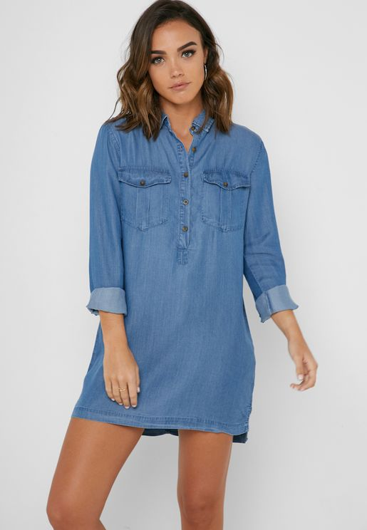 e7aa2adc031 Chambray Shirt Dress. Forever 21