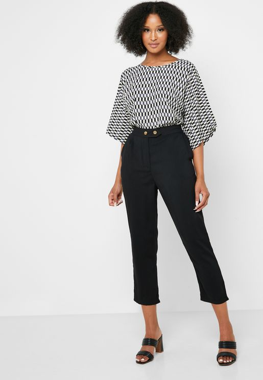 Button Detail High Waist Pants