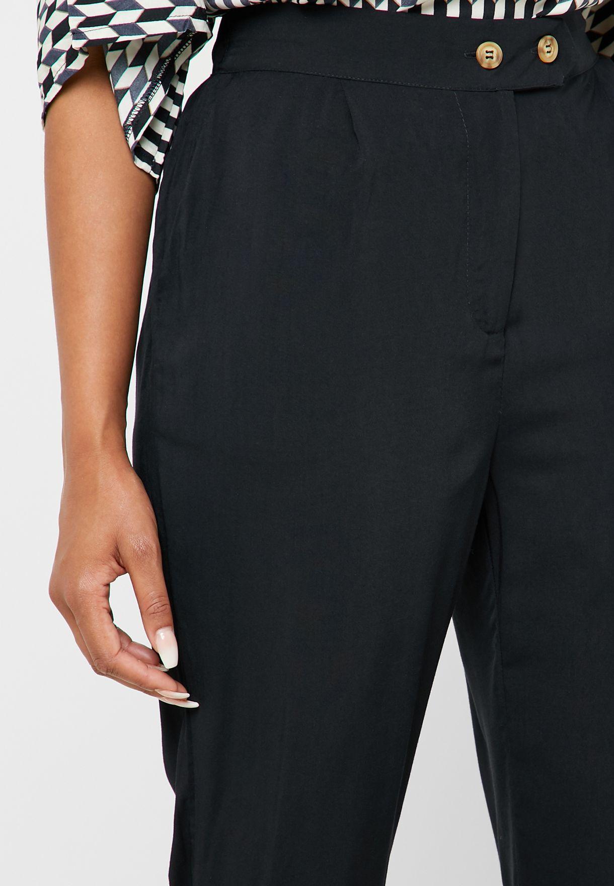 Button Detail High Waist Pants