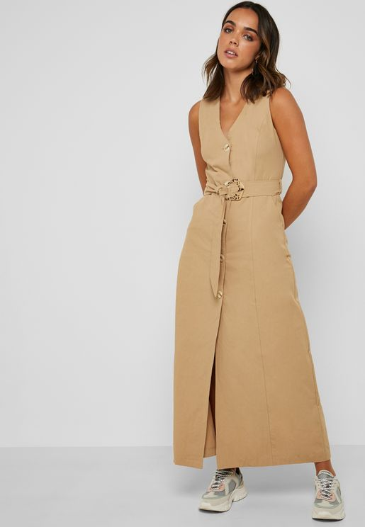 Button Down Belted Maxi Dress