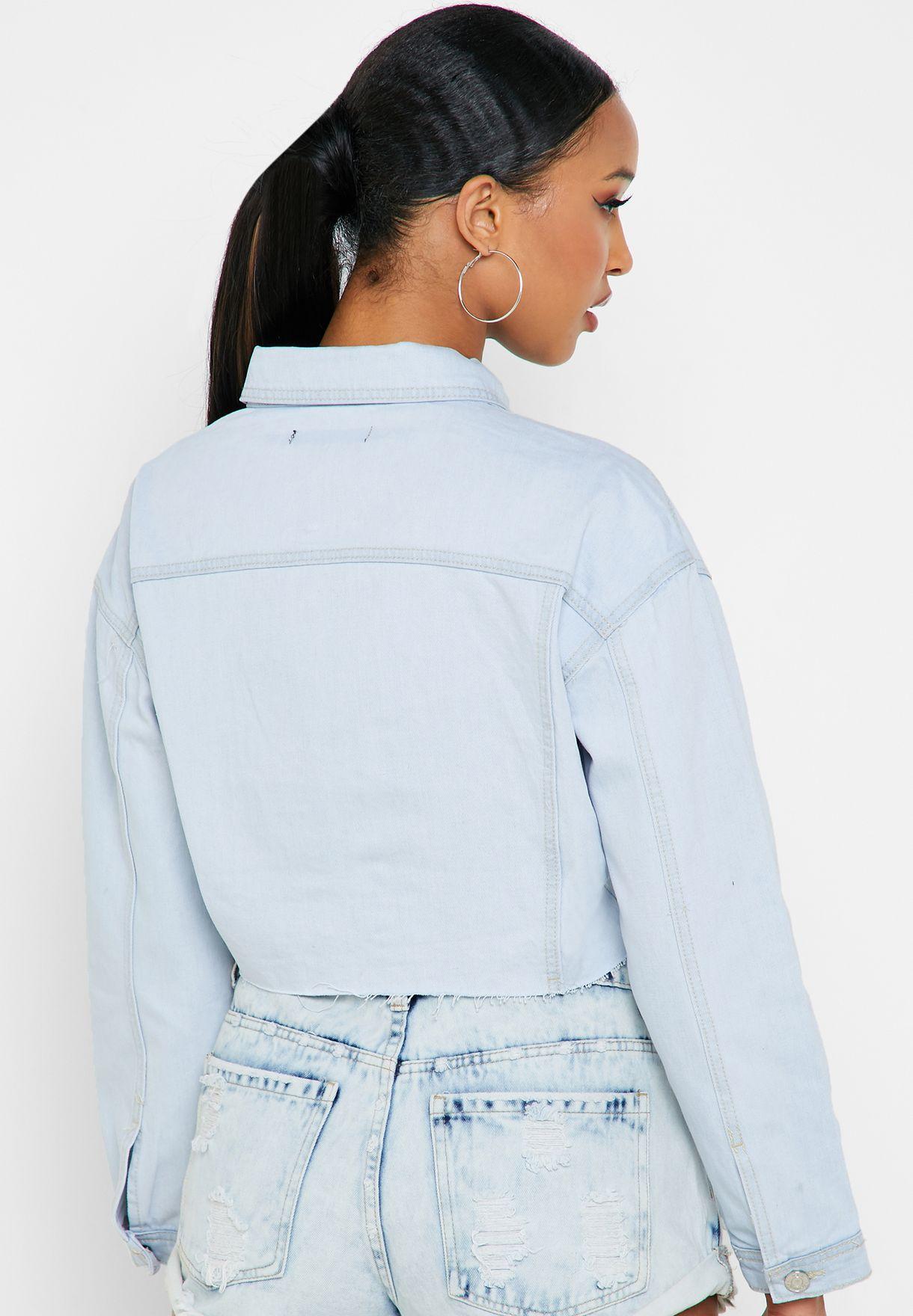 جاكيت جينز مزين بشراشيب