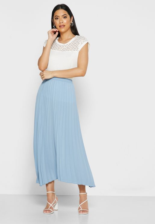 Shirred Waist Plisse Skirt