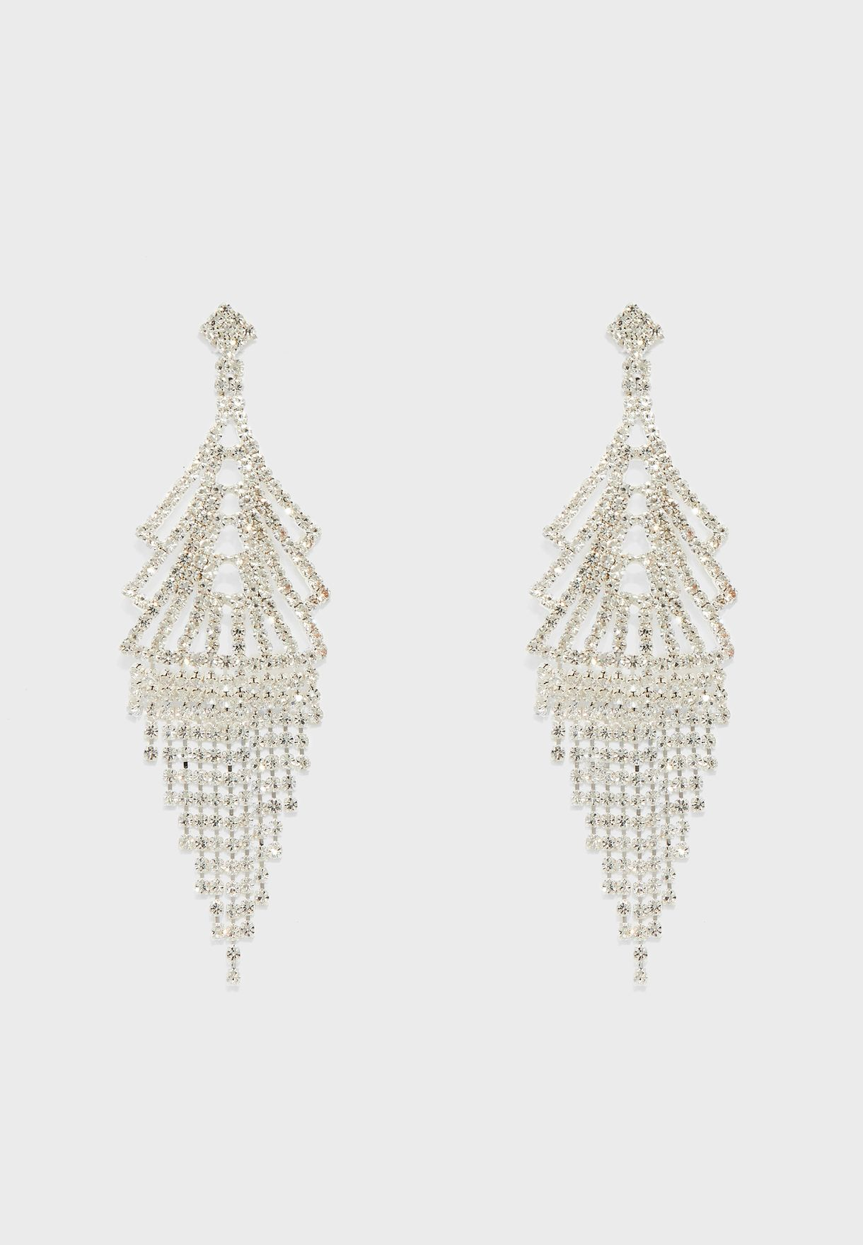 Chandelier Layered Diamante Drop Earrings
