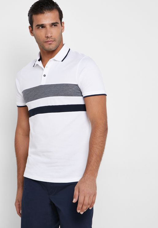 Contrast Edges Striped Detail Polo