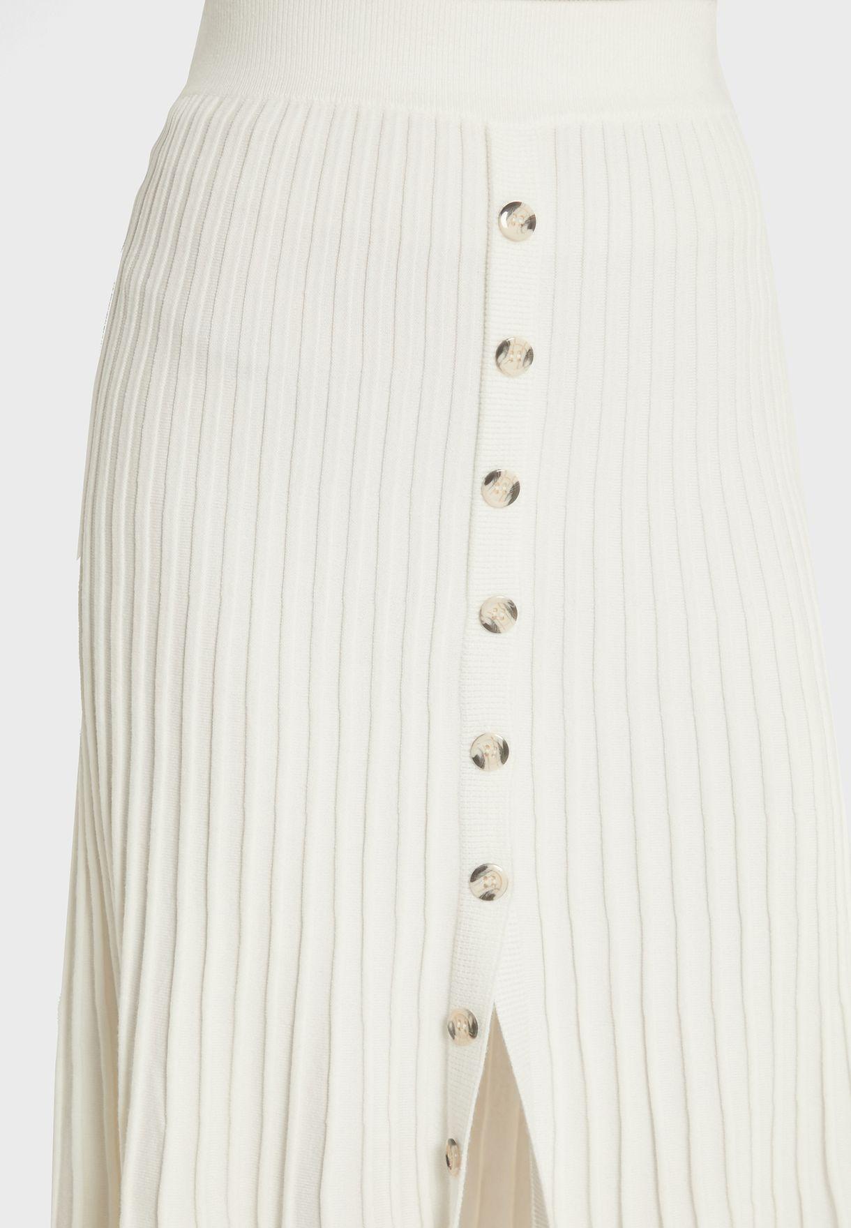 Button Detail Side Slit Ribbed Skirt