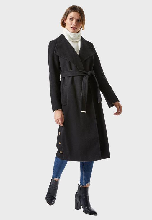 Tie Waist Longline Coat