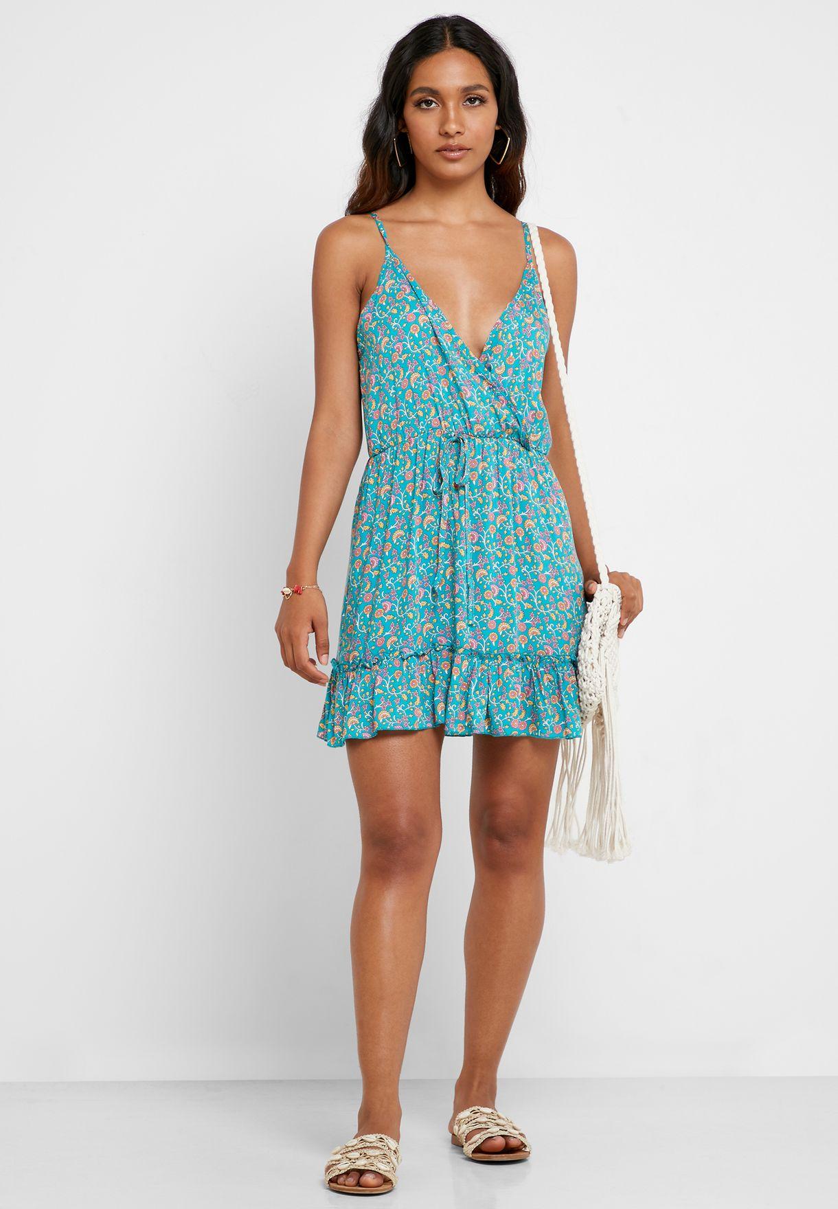 Floral Print Wrap Plunge Dress