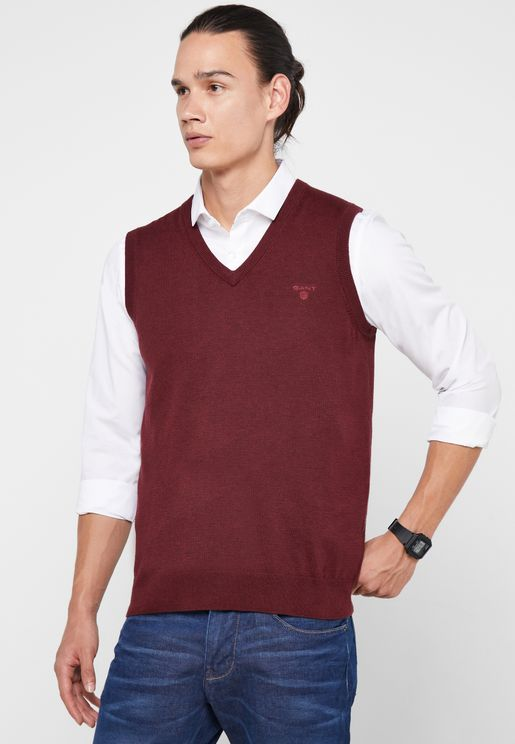 Knitted V-Neck Sleeveless Sweater