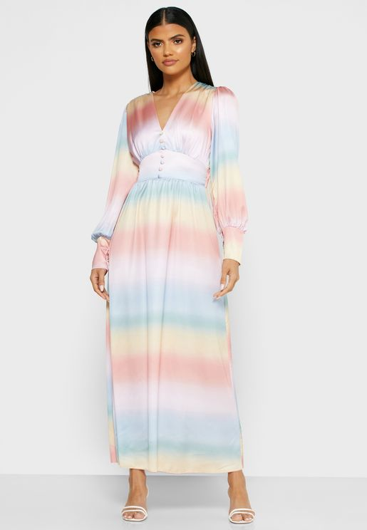 Button Down Self Tie Maxi Dress