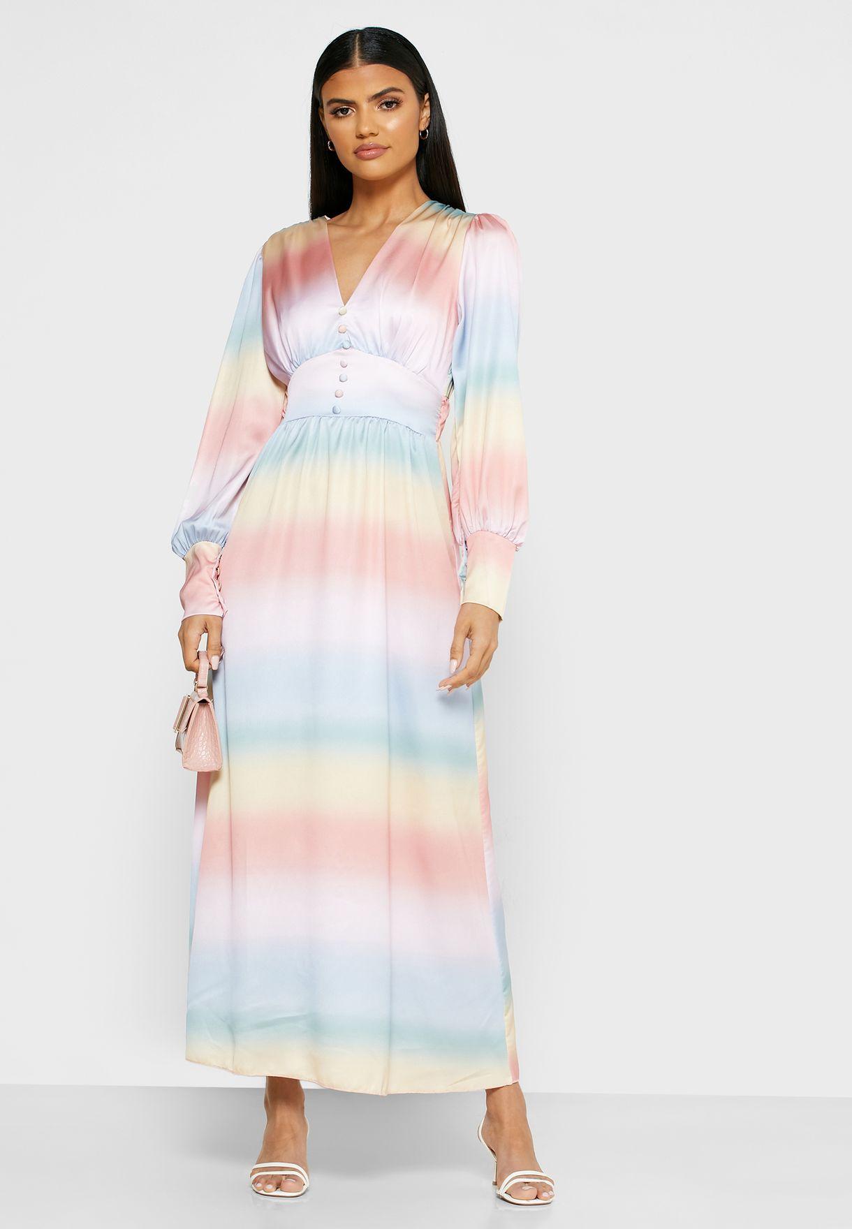 فستان ماكسي بأربطة امامية