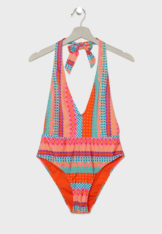 Printed Plunge Swimsuit