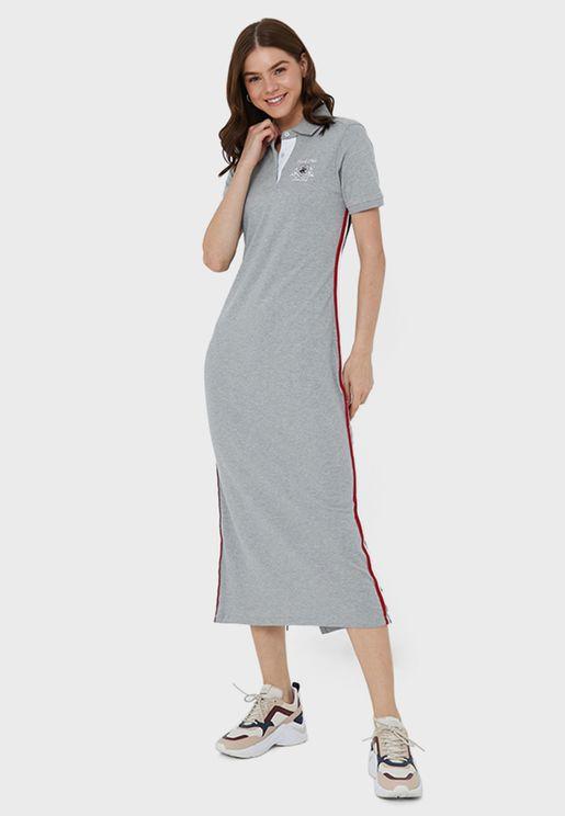 فستان ميدي بياقة كلاسيكية