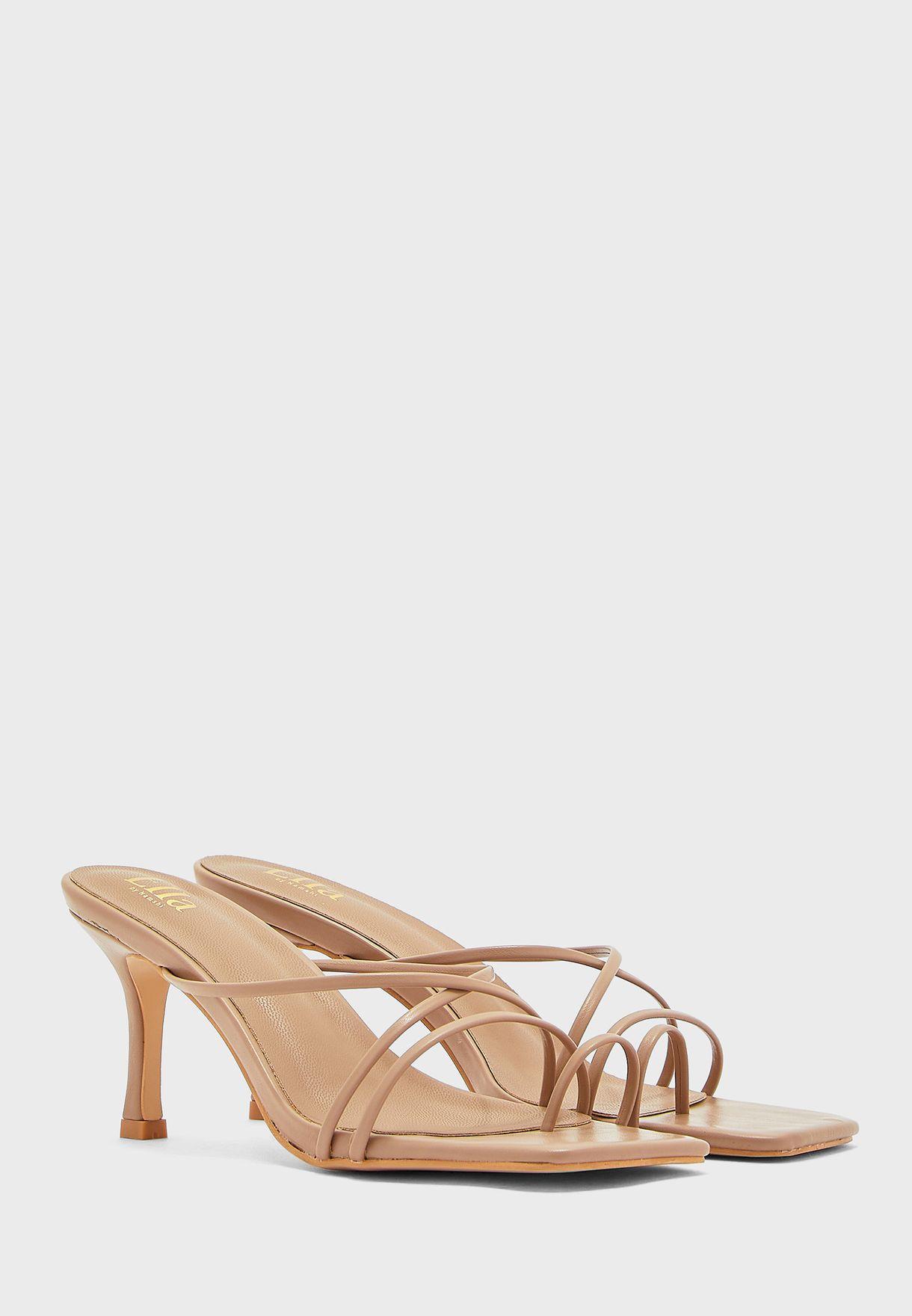 Square Toe Curved Strap Toe Post Sandal