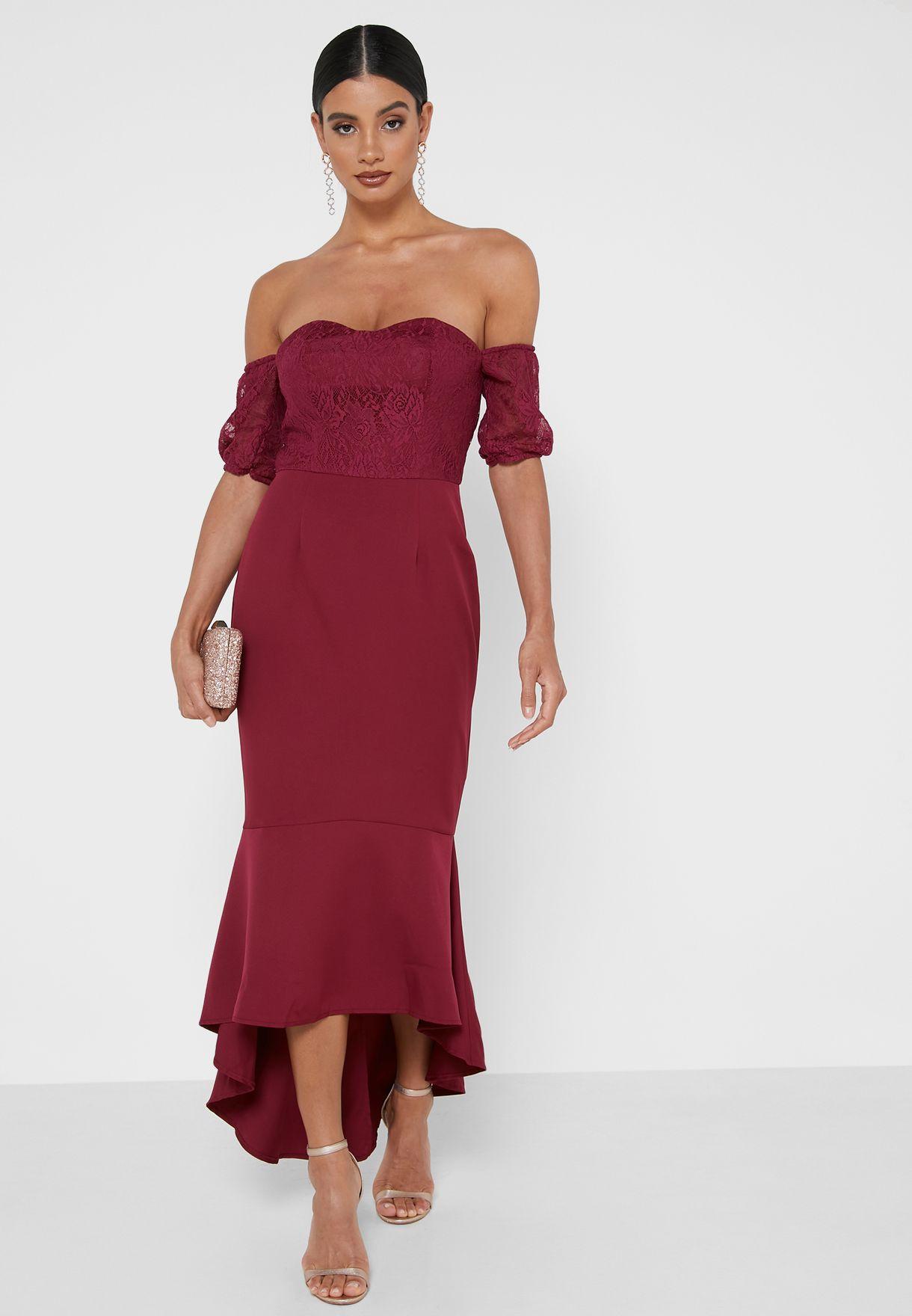 Suzy Lace Bardot Dress