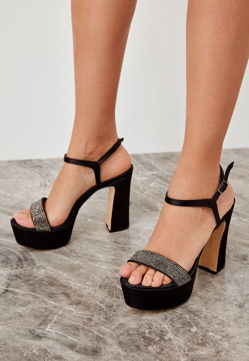 Platform Block Heel Sandal - Black