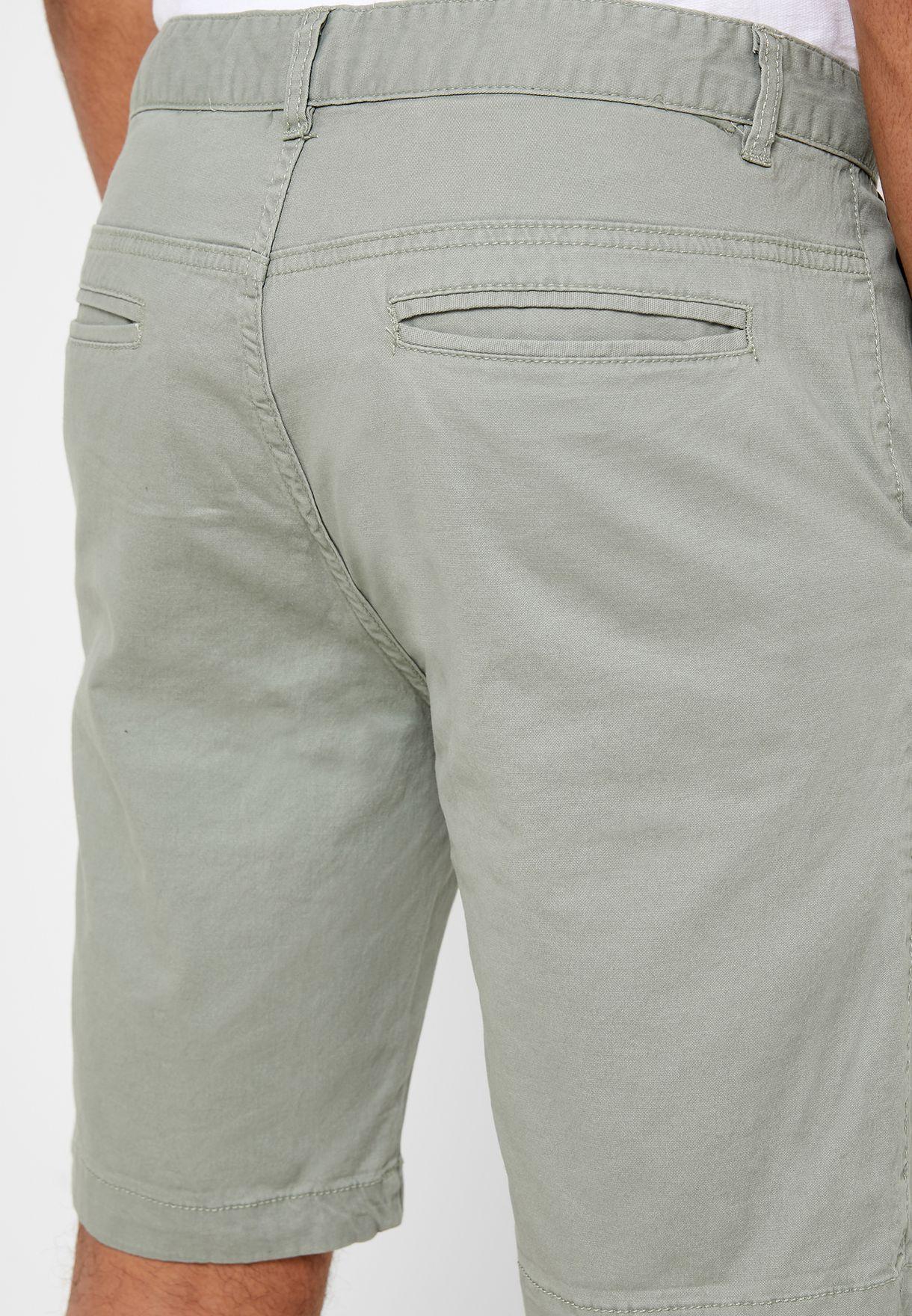 Washed Roll Hem Chino Shorts