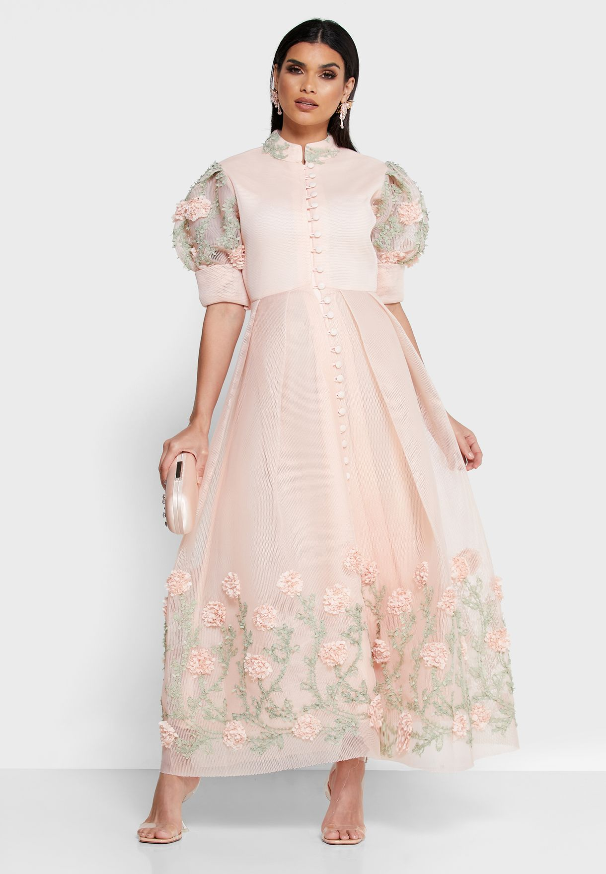 Floral Applique Button Through Dress