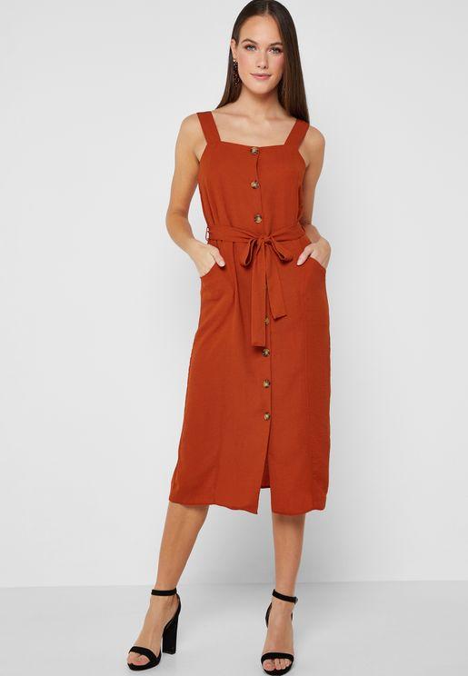 Button Down Tie Waist Dress