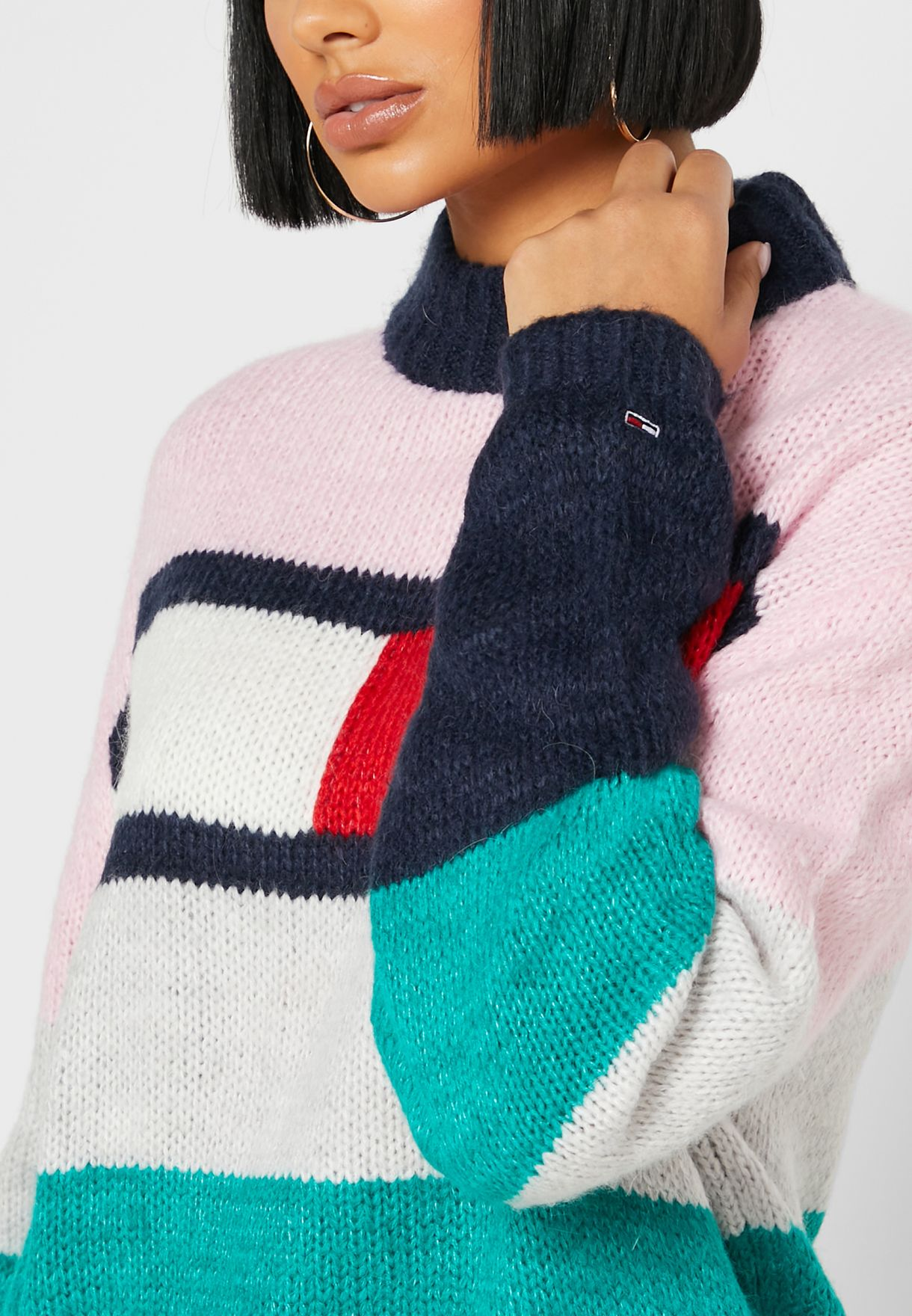 Colorblock High Neck Sweater