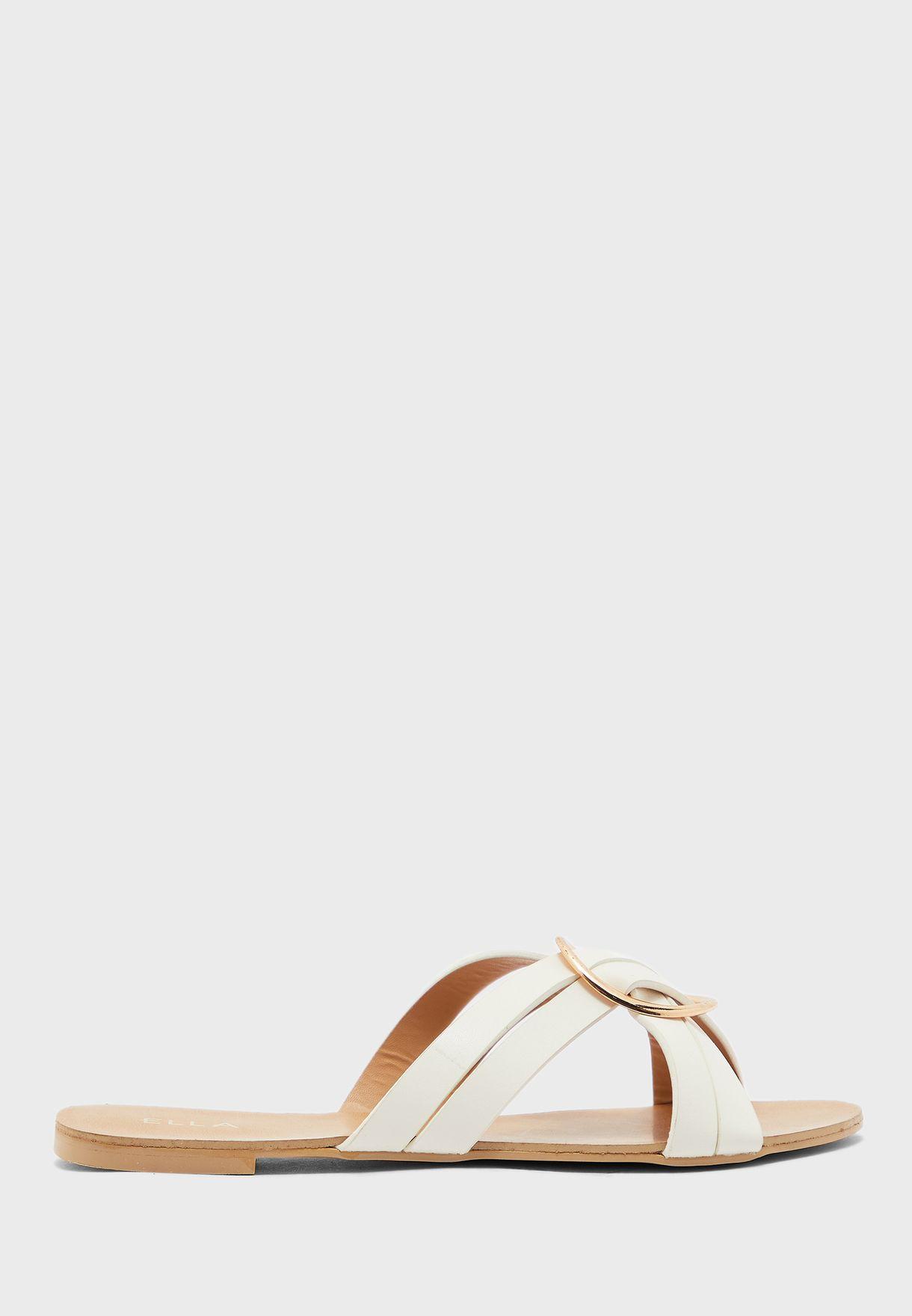 Cross Strap Ring Flat Sandals