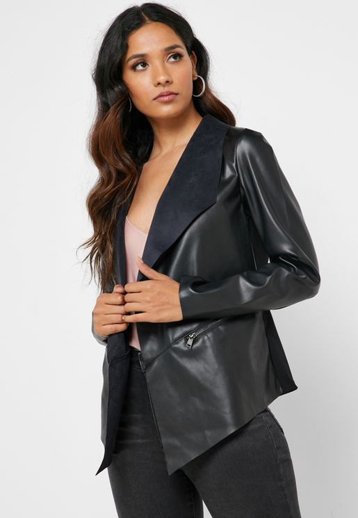 Open Front PU Jacket