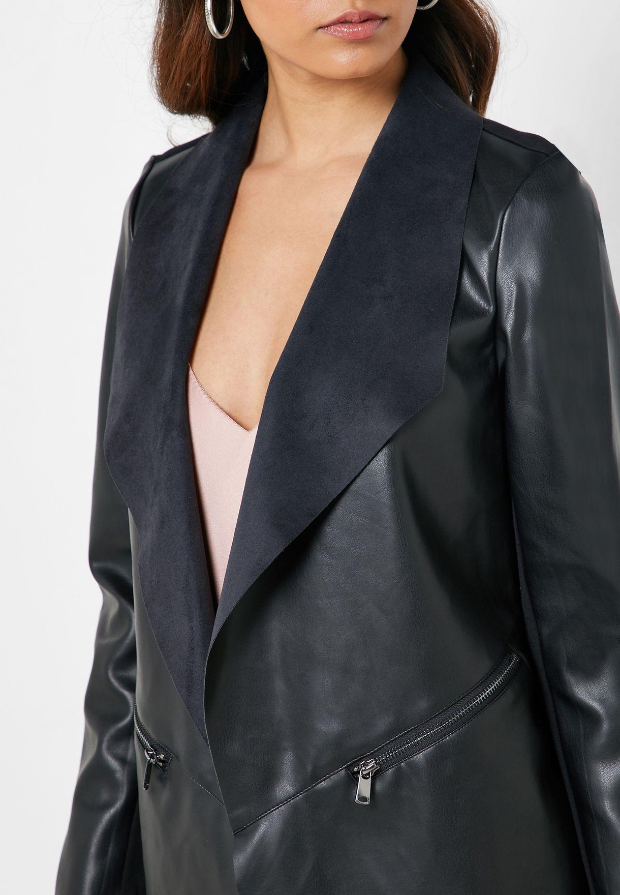 Open Front PU Jacket