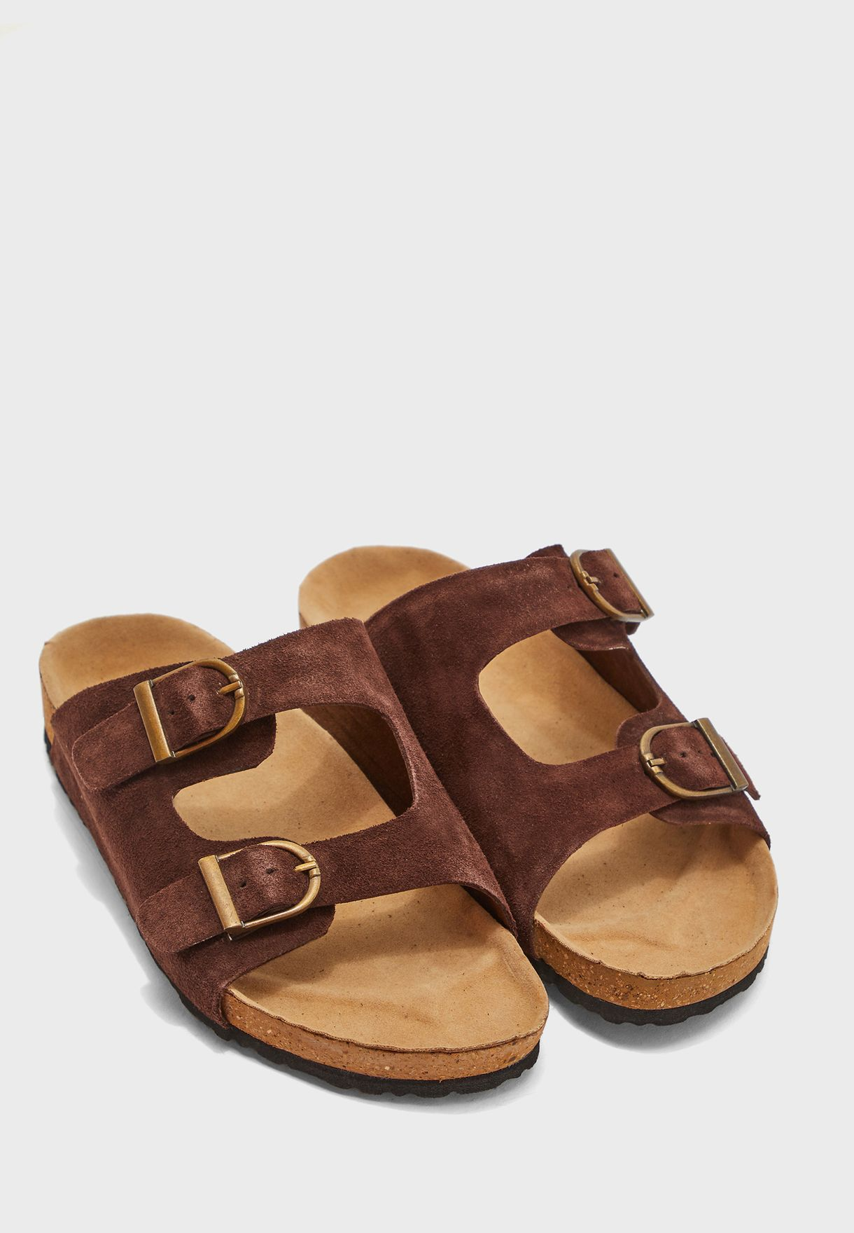 Suede Leather Arch Support Dual Strap Sandals