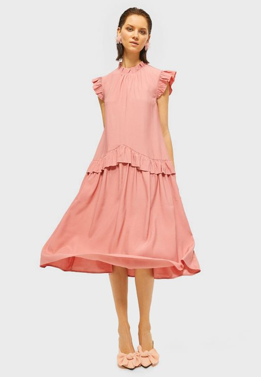 Pleated Detail Ruffle Detail Dress
