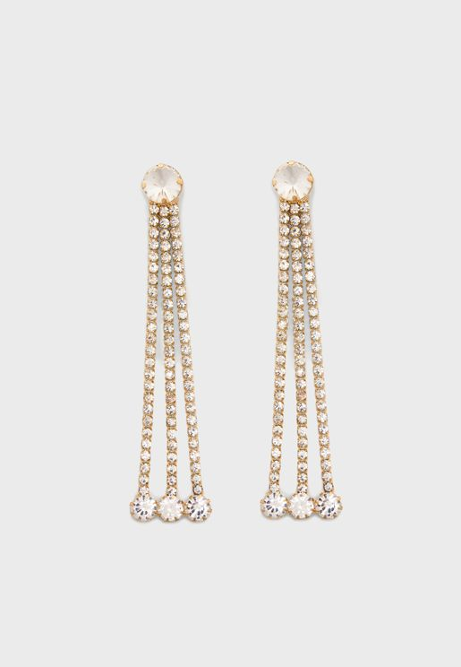 Statement Rhinestone Drop Earrings