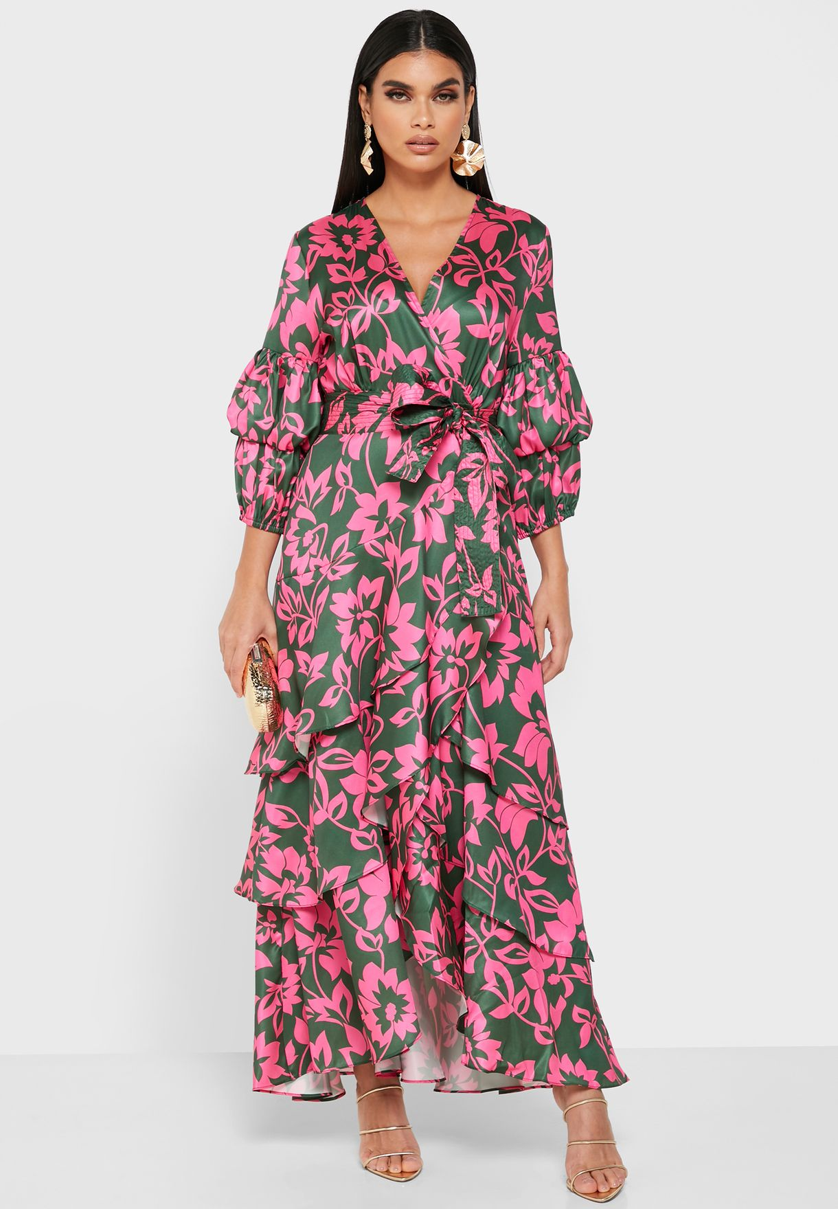 Printed Wrap Front Ruffle Maxi Dress