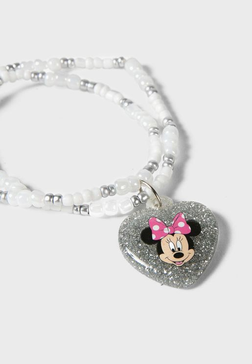 Kids Minnie Mouse Bead Bracelet