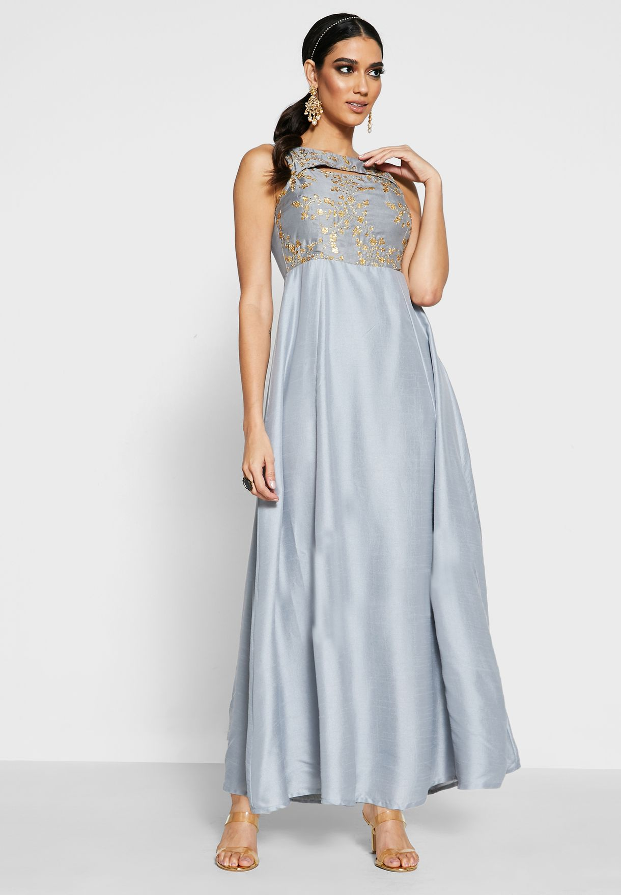 Grey Embroidered Cut Neck Maxi Tunic