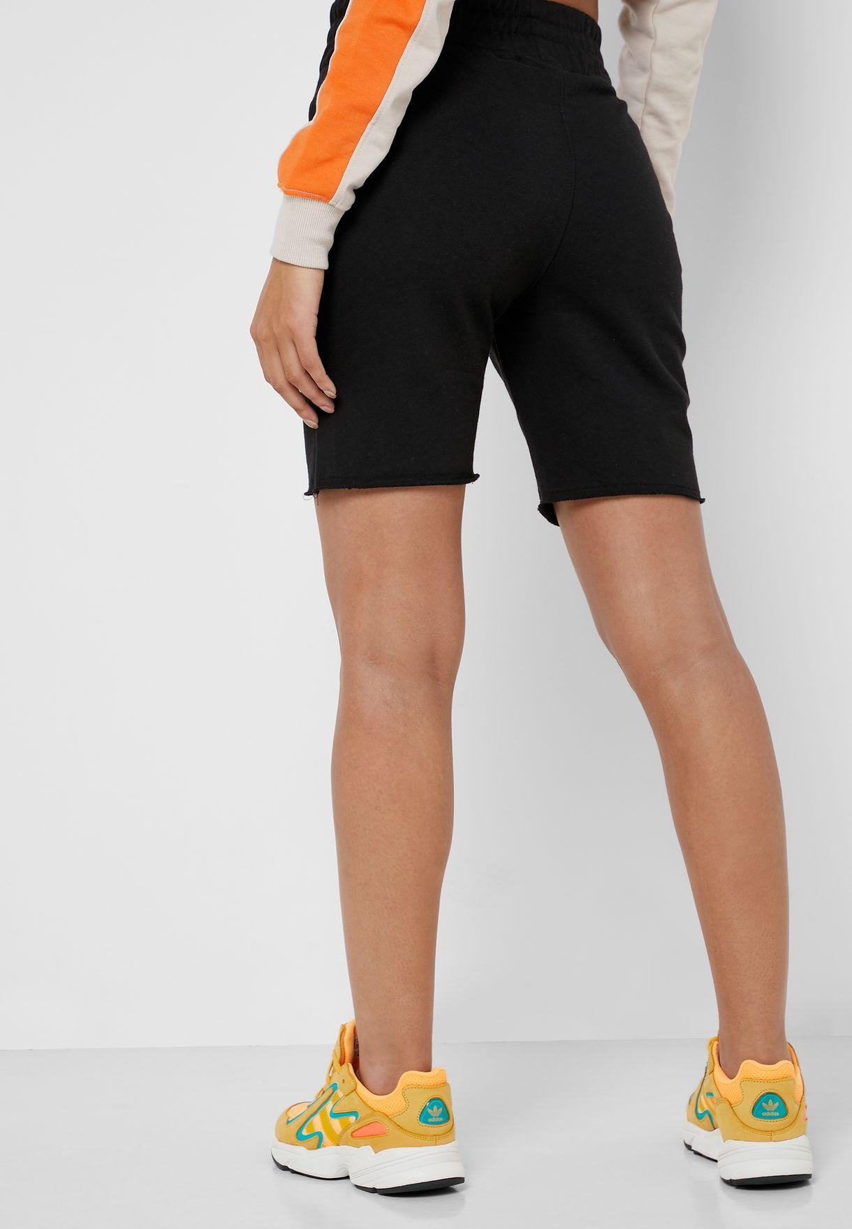High Waist Raw Hem Shorts