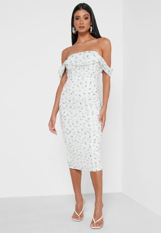Ruched Bardot Midi Dress