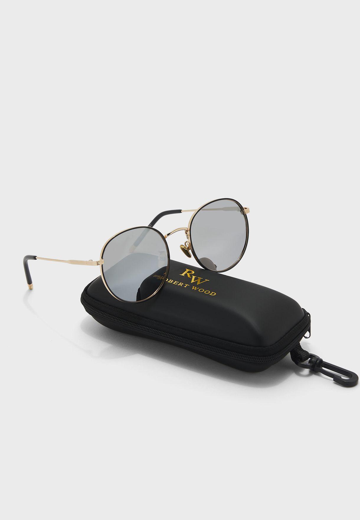 Polarized Sleek Edge Round Sunglasses